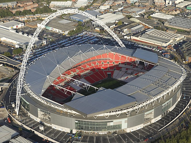WEMBLEY STADIUM, London. Aerial view.